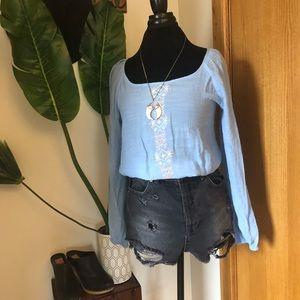 Tops - Light blue crepe embroidered blouse